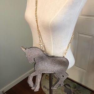 Silver gold glitter unicorn pony purse satchel